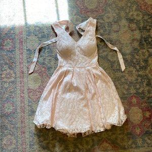 pink lace floral formal dress